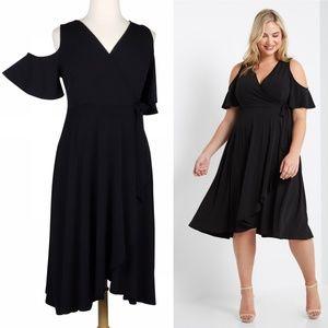 Breezy Beauty 1X Black Cold Shoulder Wrap Dress